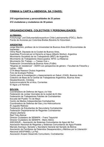 ORGANIZACIONES, COLECTIVOS Y PERSONALIDADES - ODG