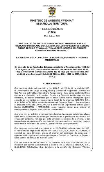 1325 25 julio 2008 - Ministerio de Ambiente, Vivienda y Desarrollo ...