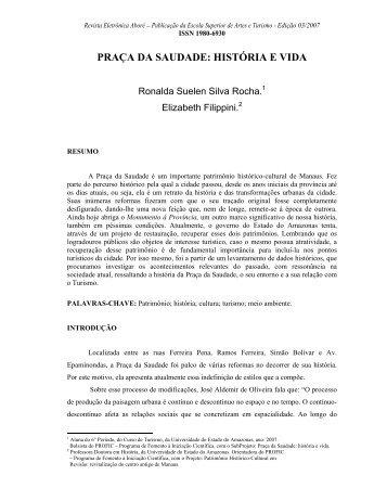 PRAÇA DA SAUDADE: HISTÓRIA E VIDA - Revistas.uea.edu.br