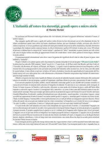 L'italianità all'estero tra stereotipi, grandi opere e micro storie