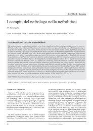I compiti del nefrologo nella nefrolitiasi - Società Italiana di Nefrologia