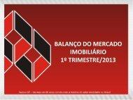BALANÇO DO MERCADO IMOBILIÁRIO 1º TRIMESTRE/2013