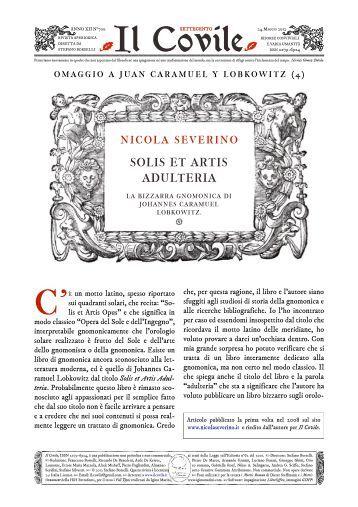 Il Covile N° 700 - Omaggio a Caramuel (4) - Nicola Severino. Solis ...