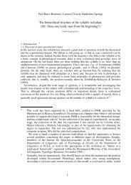 1 The hierarchical structure of the syllable in Italian. - Laboratorio di ...