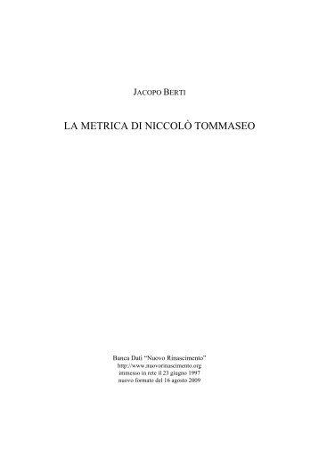 LA METRICA DI NICCOLÒ TOMMASEO - Nuovo Rinascimento