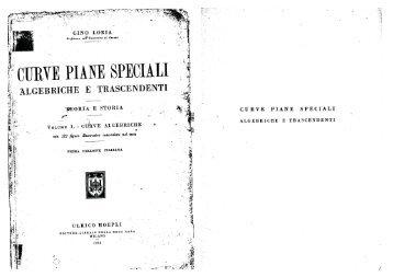 Volume I: Curve algebriche - Edizione Nazionale Mathematica Italiana