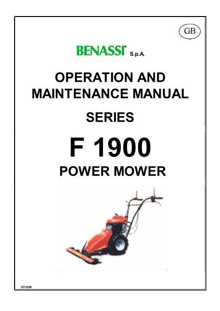 Operation And Maintenance Manual Series Power Mower Benassi Spa