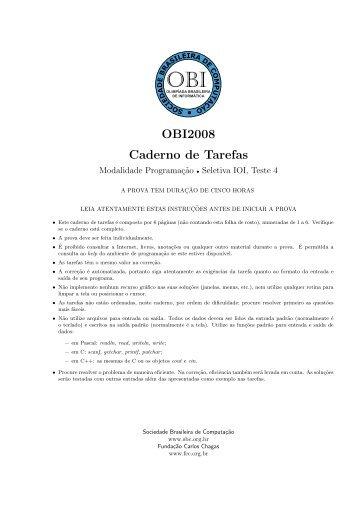 Caderno de tarefas da prova - Olimpíada Brasileira de Informática