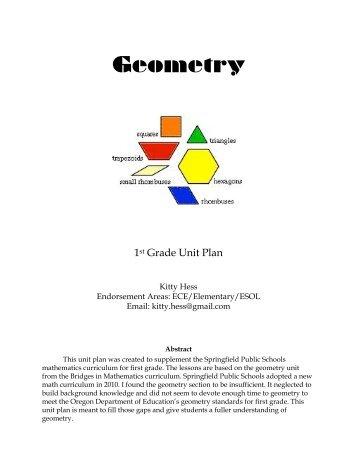Geometry: A First Grade Unit Plan