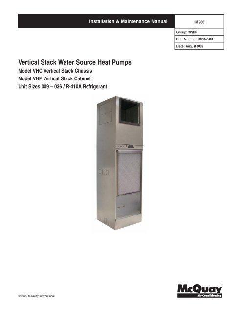 Vertical Stack Water Source Heat Pumps HTS