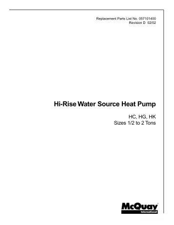 RPL: HC, HK, HG 1/2 to 2 Tons; Hi-Rise Water Source Heat Pump