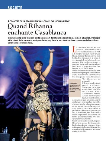 Quand Rihanna enchante Casablanca - Maroc Hebdo International