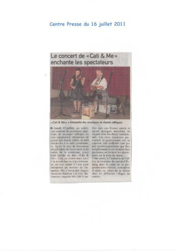 Le concert de « Cati & Me » enchante les spectateurs - Mairie de Le ...