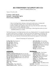 TKD Terms & Rules - Blythewood Tae Kwon Do