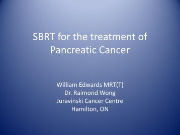 Cyberknife SBRS for the treatment of Pancreatic Cancer