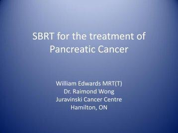 Cyberknife SBRS for the treatment of Pancreatic Cancer