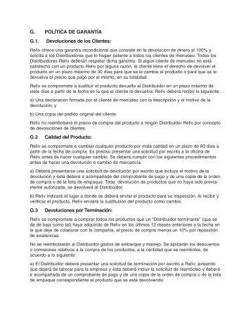 G. POLÍTICA DE GARANTÍA G.1 Devoluciones de los Clientes: G.2 ...