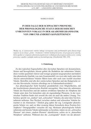 In der Falle der schwachen Phoneme: der PhonologIsche status der ...
