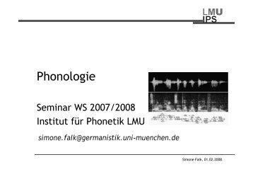 Phonologie - Institut für Phonetik und sprachliche Kommunikation ...