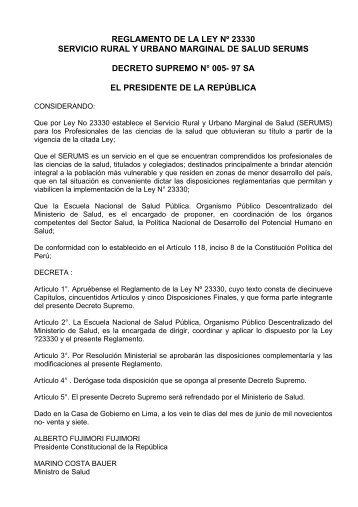 Reglamento de la Ley No. 23330 - EsSalud