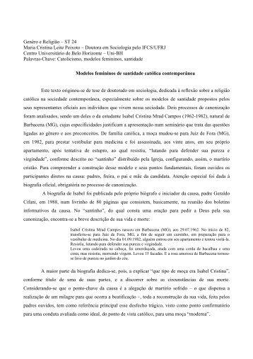 Genêro e Religião – ST 24 Maria Cristina Leite ... - Fazendo Gênero