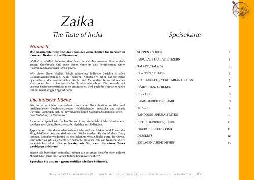 The Taste of India Speisekarte - Restaurant Zaika