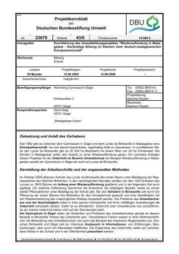Projektkennblatt Deutschen Bundesstiftung Umwelt 23679 43/0