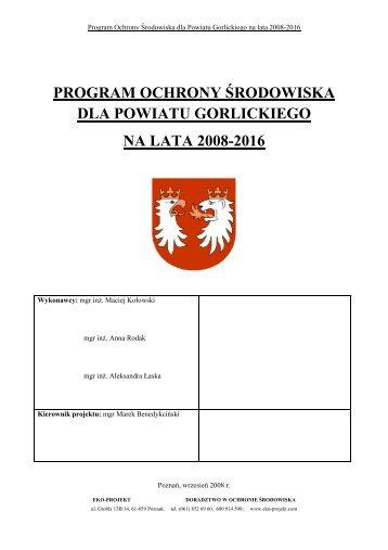 POŚ dla powiatu gorlickiego 2008-2016