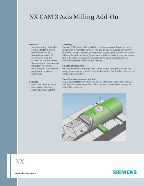 NX CAM 3-Axis Milling Add-On Fact Sheet - Siemens PLM Software