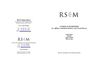 download details of how to join the RSCM - The Royal School of ...