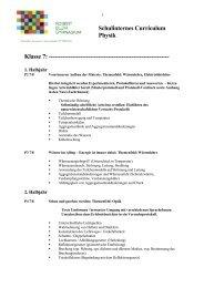 Schulinternes Curriculum Physik Klasse 7 ...