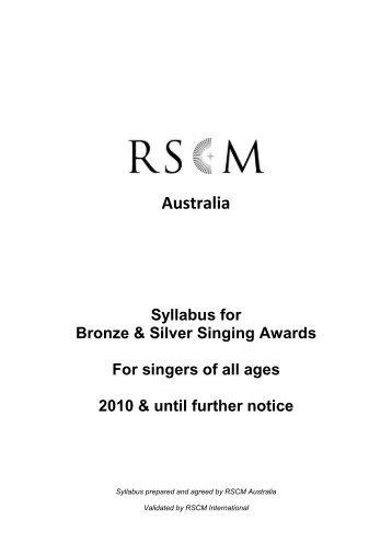 Download the Australian Syllabus for Bronze and ... - RSCM Australia