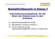 Wahlpflichtbereich in Klasse 7 - Sankt-Adelheid-Gymnasiums Bonn