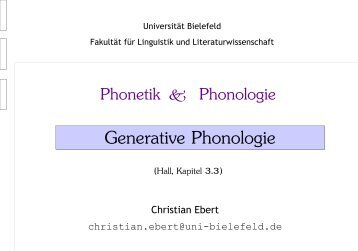 Generative Phonologie I: Phonologische Prozesse
