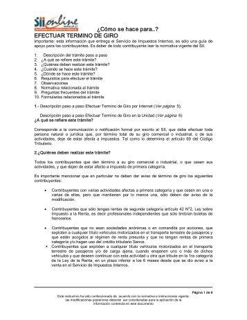 Efectuar Término de Giro. - Servicio de Impuestos Internos