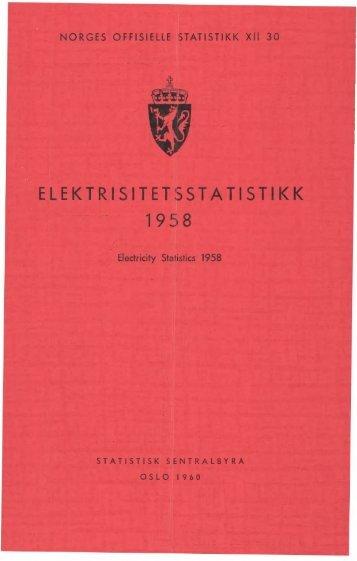 Elektrisistetsstatistikk 1958 - Statistisk sentralbyrå