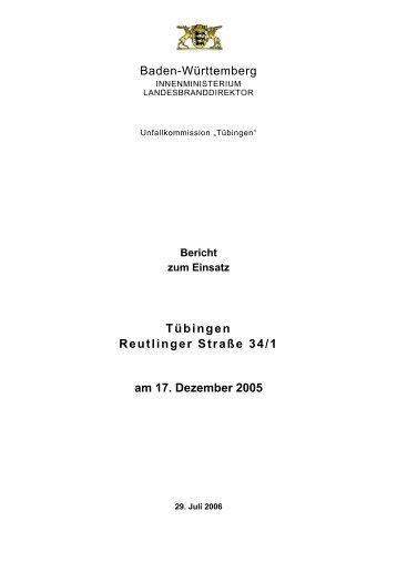 """Bericht der Unfallkommission """"Tübingen"""""""