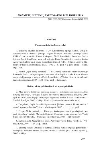 2007 metų lietuvių tautosakos bibliografija - Lietuvių literatūros ir ...