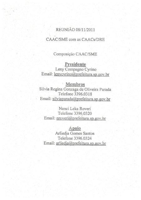 orientações CAAC - SME -2012 - Secretaria Municipal de Educação