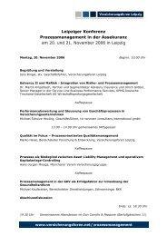 Leipziger Konferenz Prozessmanagement in der Assekuranz am 20 ...