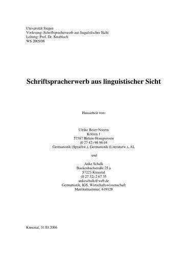 Schriftspracherwerb aus linguistischer Sicht