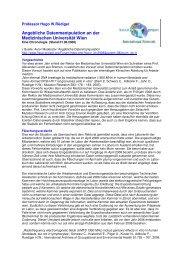 Angebliche Datenmanipulation an der Medizinischen Universität Wien