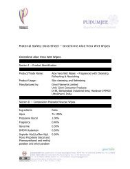 MSDS Aloe vera wet wipes PHPL - Pudumjee Hygiene Solutions