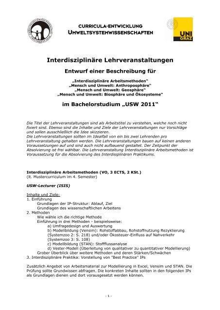 Interdisziplinäre Lehrveranstaltungen - NAWI Graz - CePoL ...