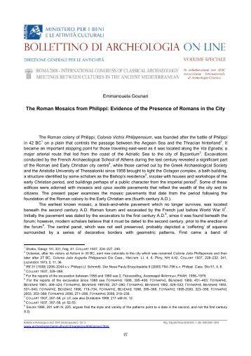 The Roman Mosaics from Philippi - Bollettino di archeologia on line