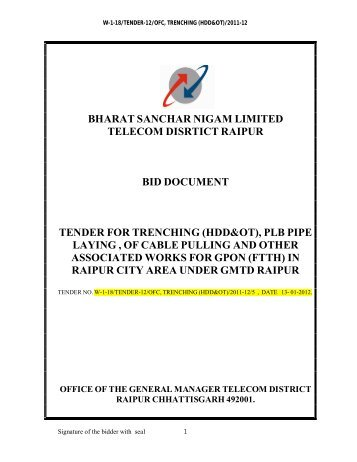 bharat sanchar nigam limited telecom disrtict raipur bid document ...