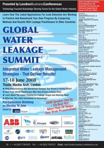 Global Water Leakage Summit 2011
