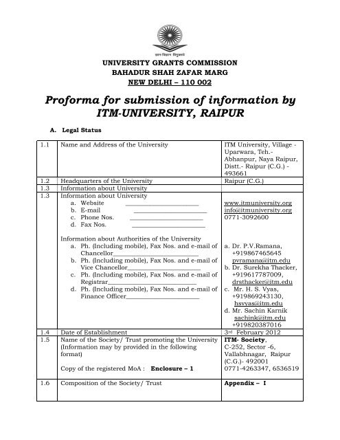 Proforma For Submission Of Information By Itm University Raipur