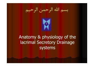 Anatomy & physiology of the lacrimal Secretory Drainage systems