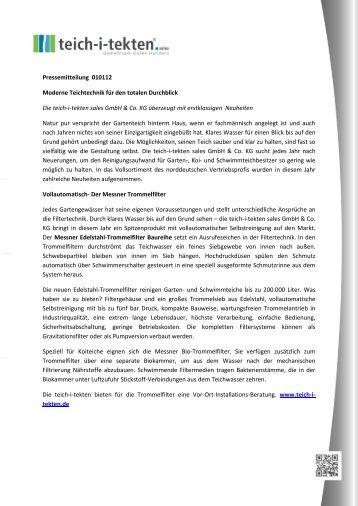 Pressemitteilung 010112 Moderne Teichtechnik für ... - Teich-i-tekten